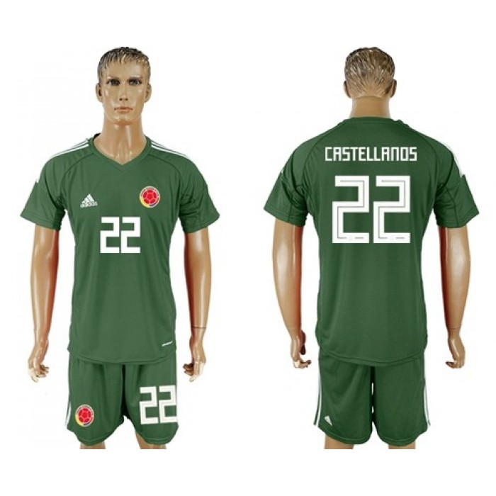 Colombia #22 Castellanos Green Goalkeeper Soccer Country Jersey