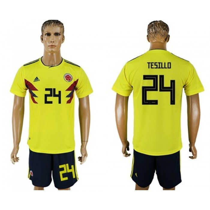 Colombia #24 Tesillo Home Soccer Country Jersey