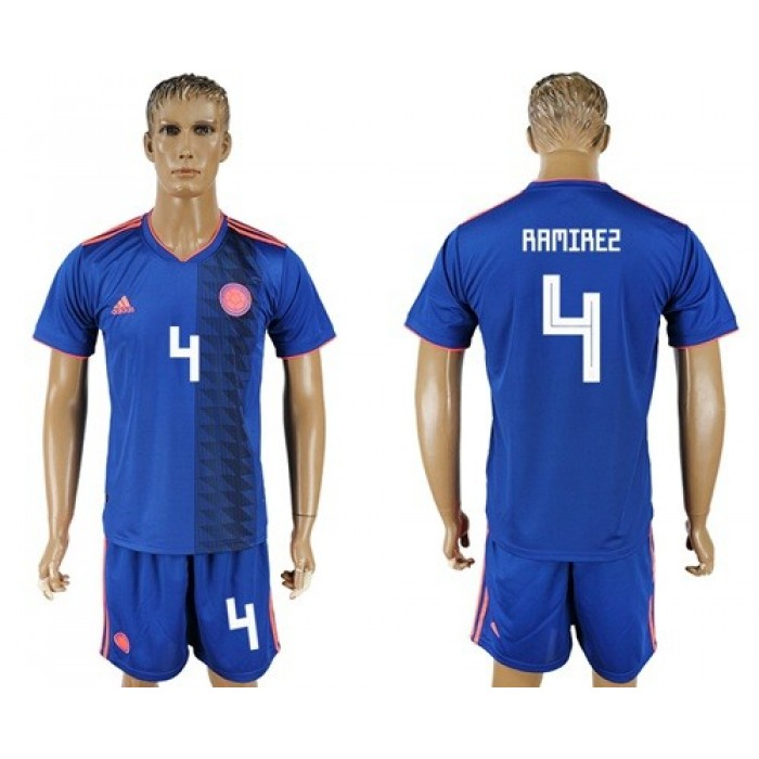 Colombia #4 Ramirez Away Soccer Country Jersey