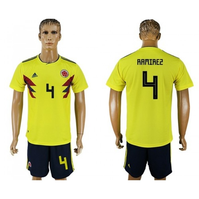 Colombia #4 Ramirez Home Soccer Country Jersey