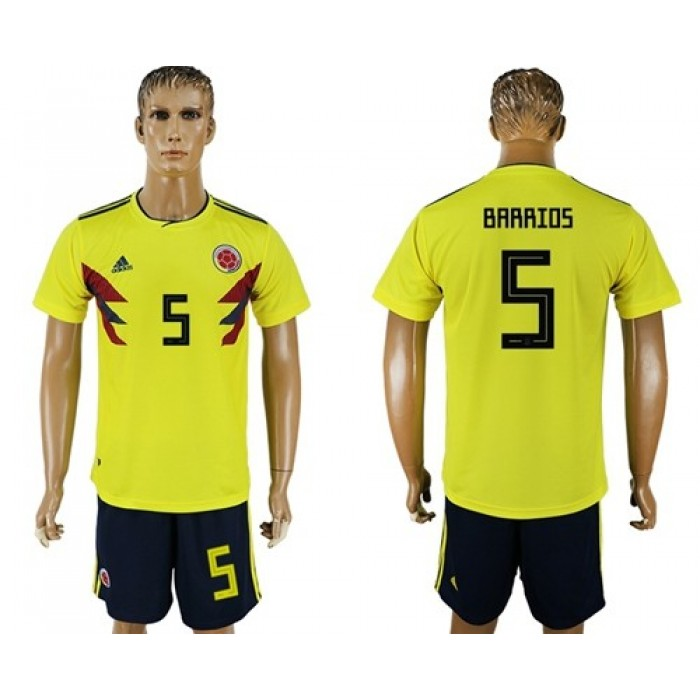 Colombia #5 Barrios Home Soccer Country Jersey