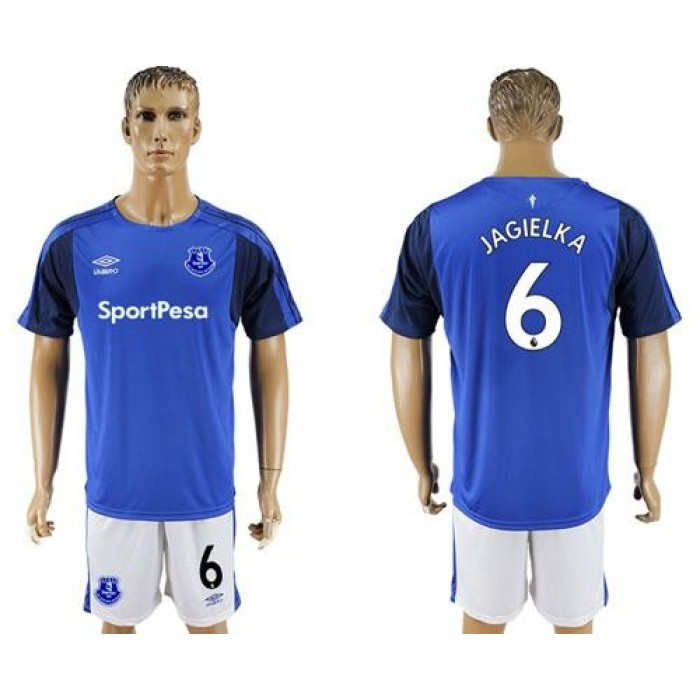 Everton #6 Jagielka Home Soccer Club Jersey