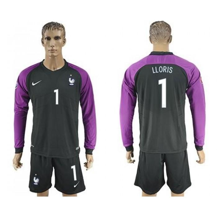 France #1 Lloris Black Goalkeeper Long Sleeves Soccer Country Jersey