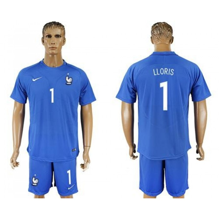 France #1 Lloris Home Soccer Country Jersey