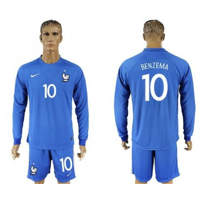 France #10 Benzema Home Long Sleeves Soccer Country Jersey