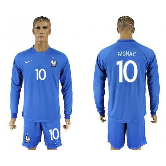 France #10 Gignac Home Long Sleeves Soccer Country Jersey