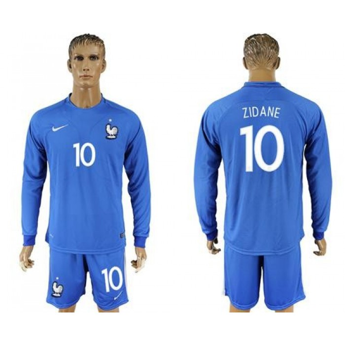 France #10 Zidane Home Long Sleeves Soccer Country Jersey