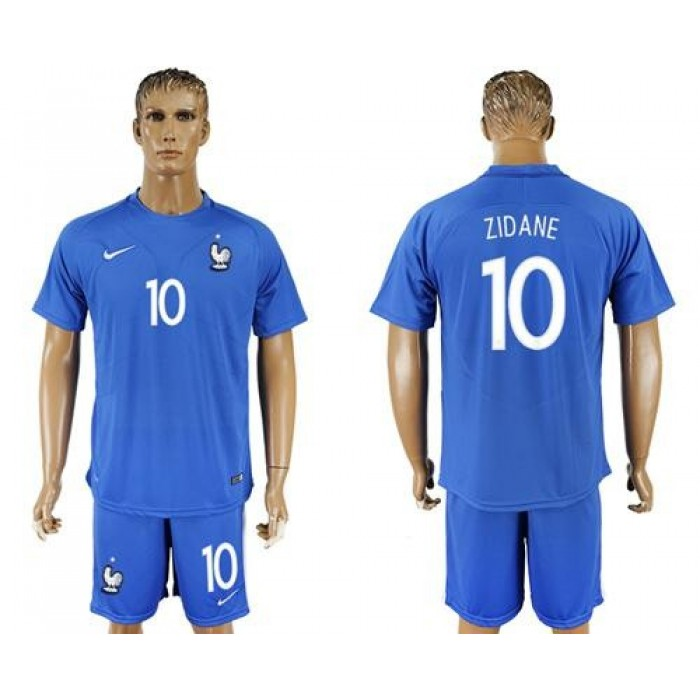 France #10 Zidane Home Soccer Country Jersey