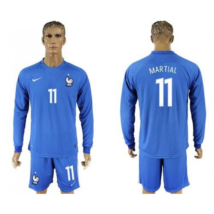France #11 Martial Home Long Sleeves Soccer Country Jersey