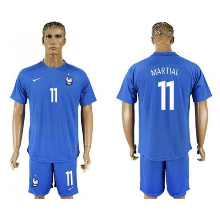 France #11 Martial Home Soccer Country Jersey