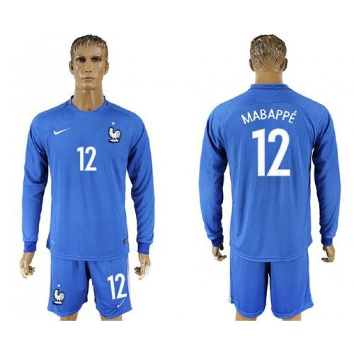 France #12 Mabappe Home Long Sleeves Soccer Country Jersey