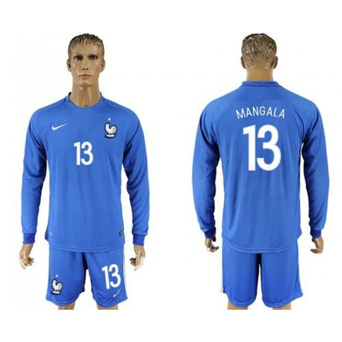 France #13 Mangala Home Long Sleeves Soccer Country Jersey