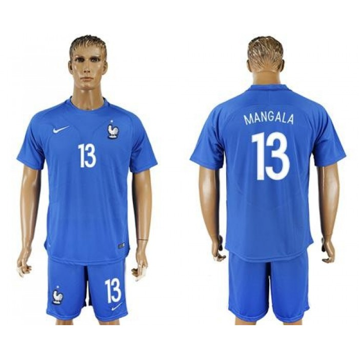 France #13 Mangala Home Soccer Country Jersey
