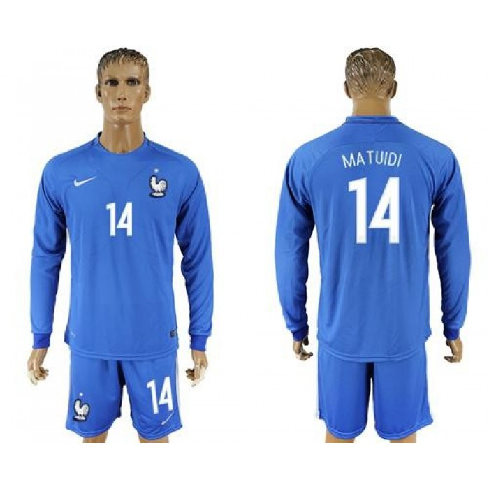 France #14 Matuidi Home Long Sleeves Soccer Country Jersey