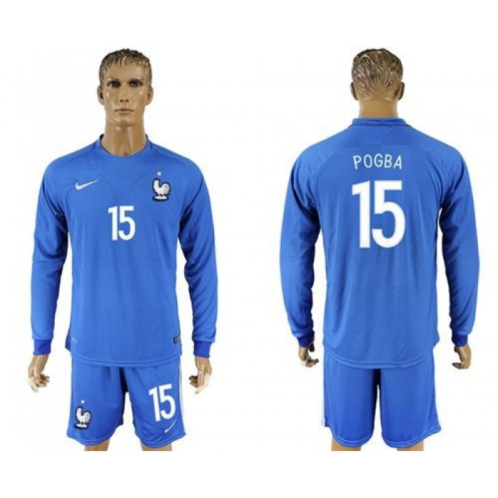 France #15 Pogba Home Long Sleeves Soccer Country Jersey