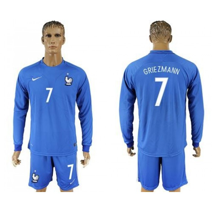 France #7 Griezmann Home Long Sleeves Soccer Country Jersey