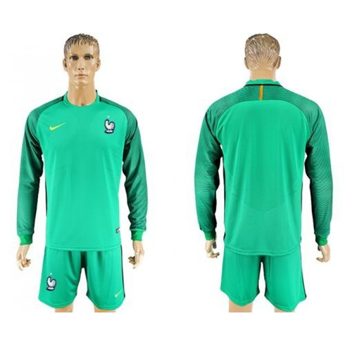 France Blank Green Goalkeeper Long Sleeves Soccer Country Jersey