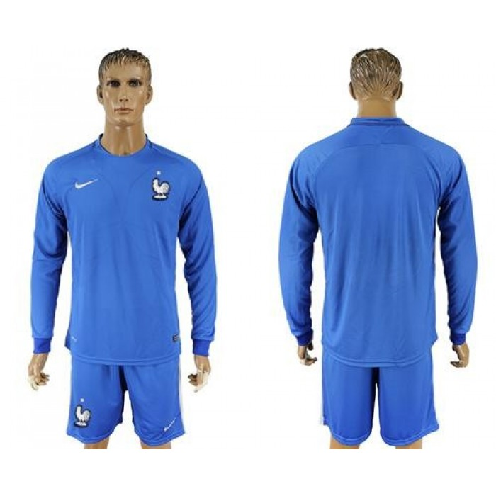 France Blank Home Long Sleeves Soccer Country Jersey