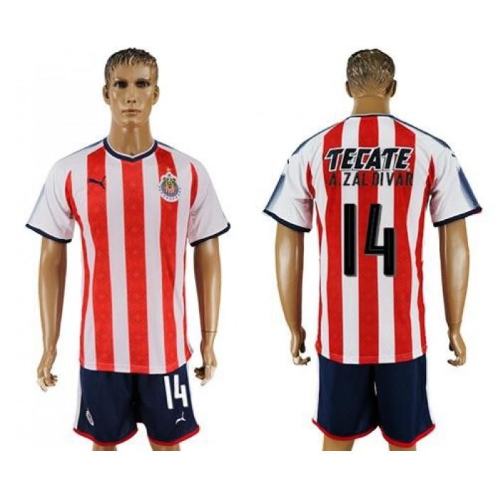 Guadalajara #14 A.Zaldivar Home Soccer Club Jersey