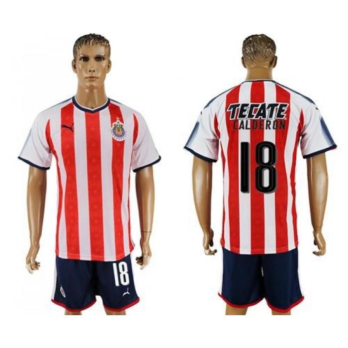 Guadalajara #18 Calderon Home Soccer Club Jersey
