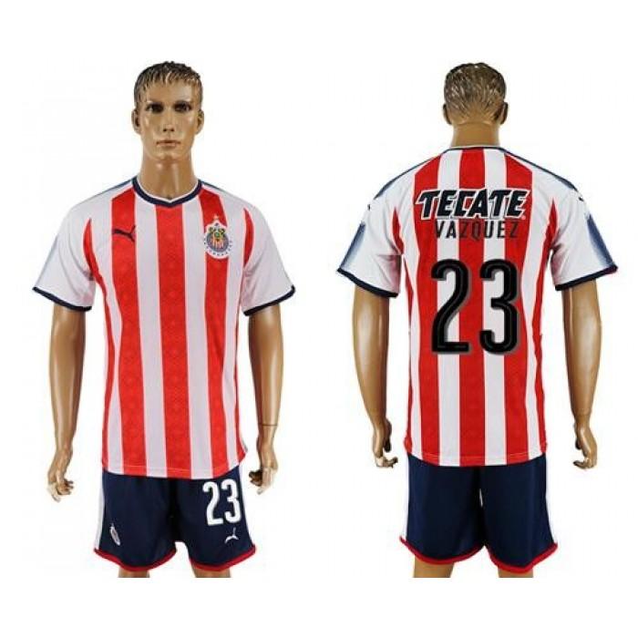 Guadalajara #23 Vazquez Home Soccer Club Jersey