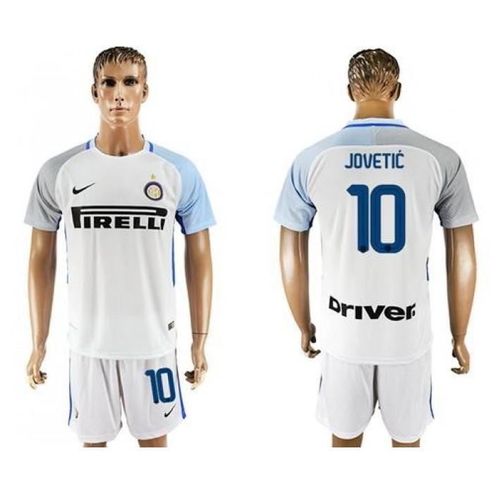 Inter Milan #10 Jovetic White Away Soccer Club Jersey