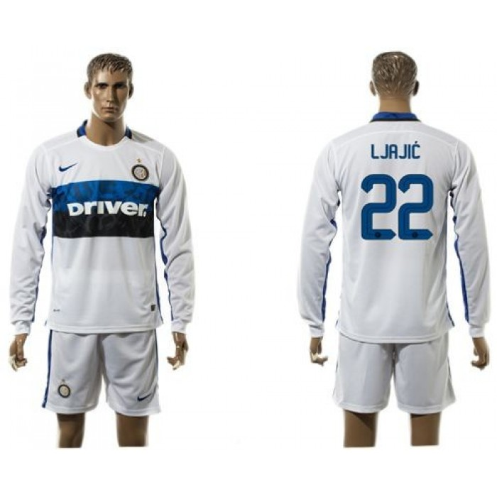 Inter Milan #11 Biabiany Home Long Sleeves Soccer Club Jersey