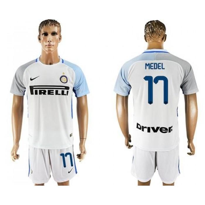Inter Milan #17 Medel White Away Soccer Club Jersey