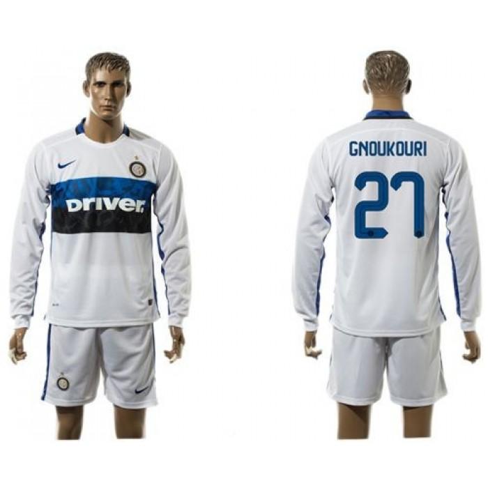Inter Milan #19 Ever Banega Home Long Sleeves Soccer Club Jersey