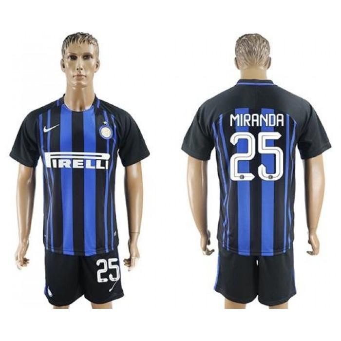 Inter Milan #25 Miranda Home Soccer Club Jersey