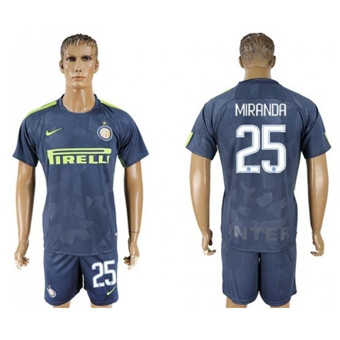 Inter Milan #25 Miranda Sec Away Soccer Club Jersey
