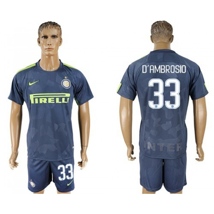 Inter Milan #33 D'Ambrosio Sec Away Soccer Club Jersey