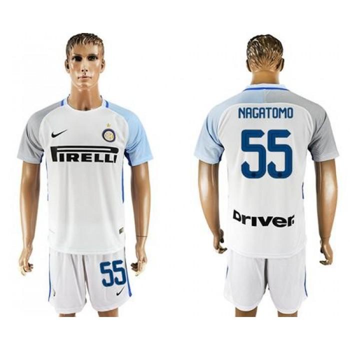 Inter Milan #55 Nagatomo White Away Soccer Club Jersey