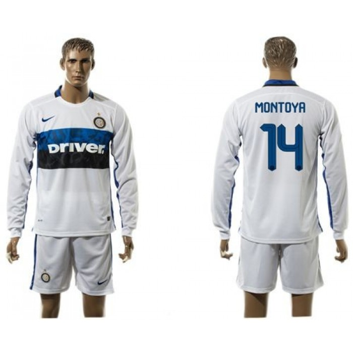 Inter Milan #6 J.Mario Home Long Sleeves Soccer Club Jersey