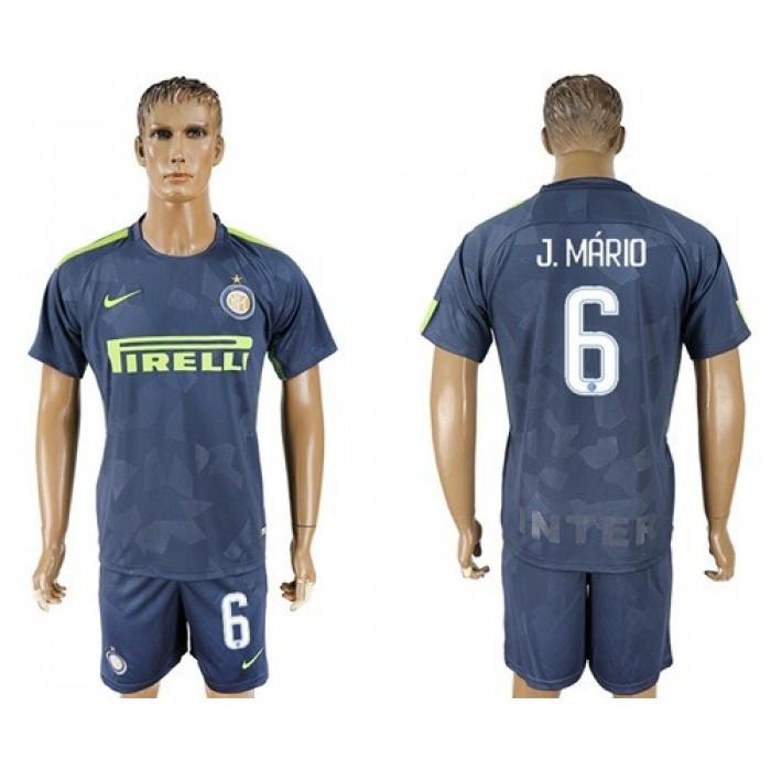 Inter Milan #6 J.Mario Sec Away Soccer Club Jersey