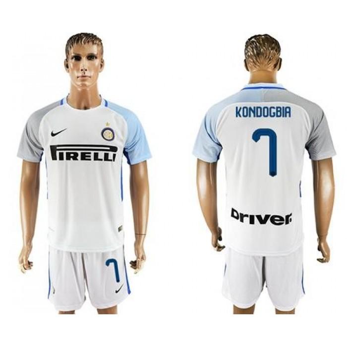 Inter Milan #7 Kondogbia White Away Soccer Club Jersey