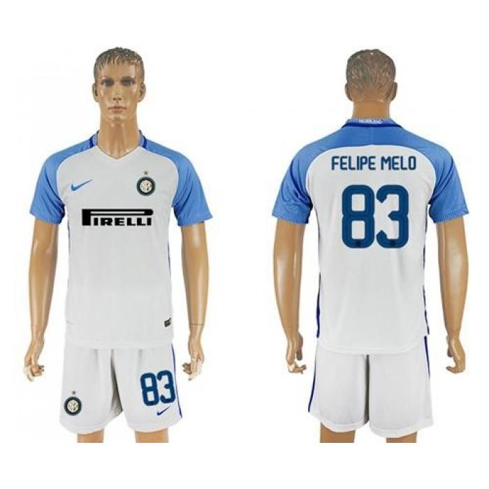 Inter Milan #83 Felipe Melo White Away Soccer Club Jersey