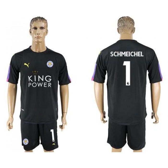 Leicester City #1 Schmeichel Black Goalkeeper Soccer Club Jersey