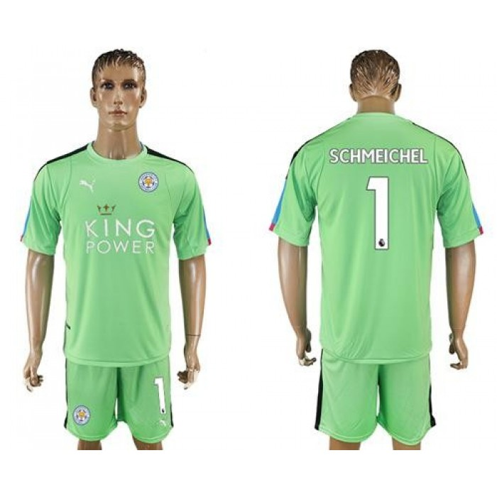 Leicester City #1 Schmeichel Green Goalkeeper Soccer Club Jersey