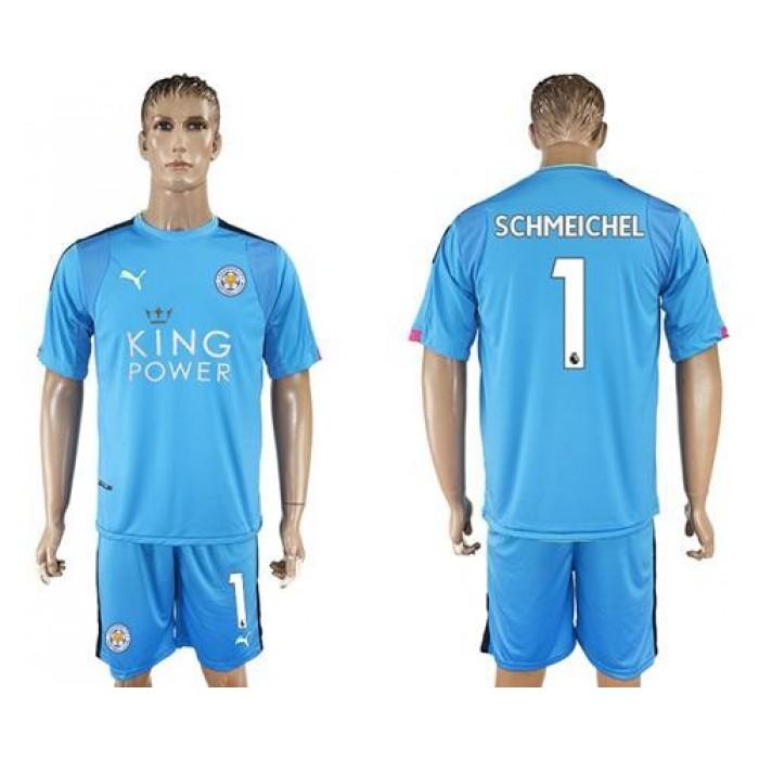 Leicester City #1 Schmeichel Light Blue Goalkeeper Soccer Club Jersey