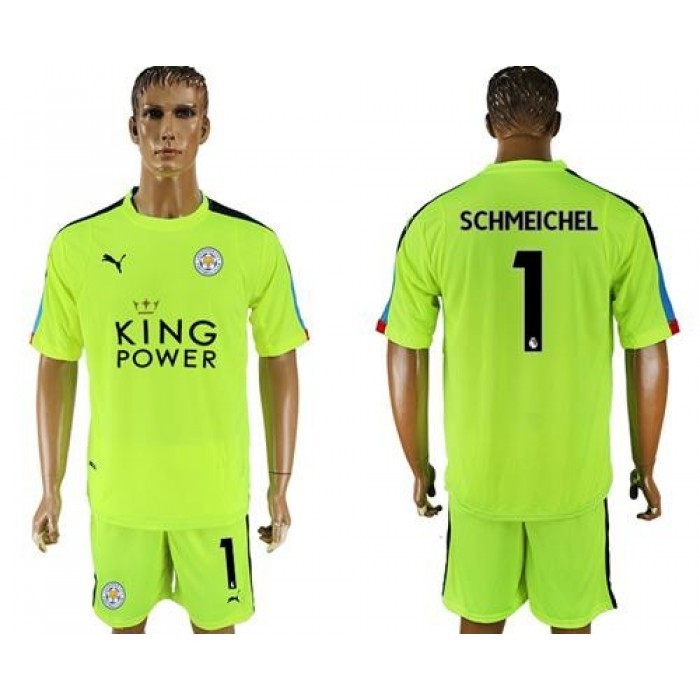 Leicester City #1 Schmeichel Shiny Green Goalkeeper Soccer Club Jersey