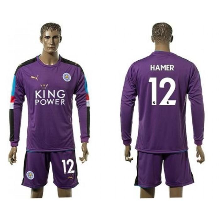 Leicester City #12 Hamer Purple Goalkeeper Long Sleeves Soccer Club Jersey