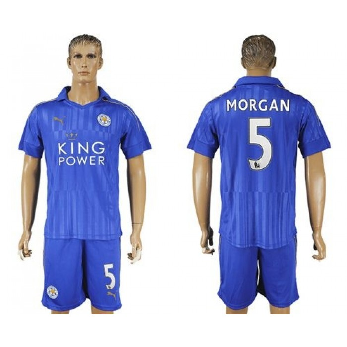 Leicester City #4 Drinkwater Home Long Sleeves Soccer Club Jersey