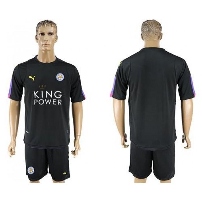 Leicester City Blank Black Goalkeeper Soccer Club Jersey