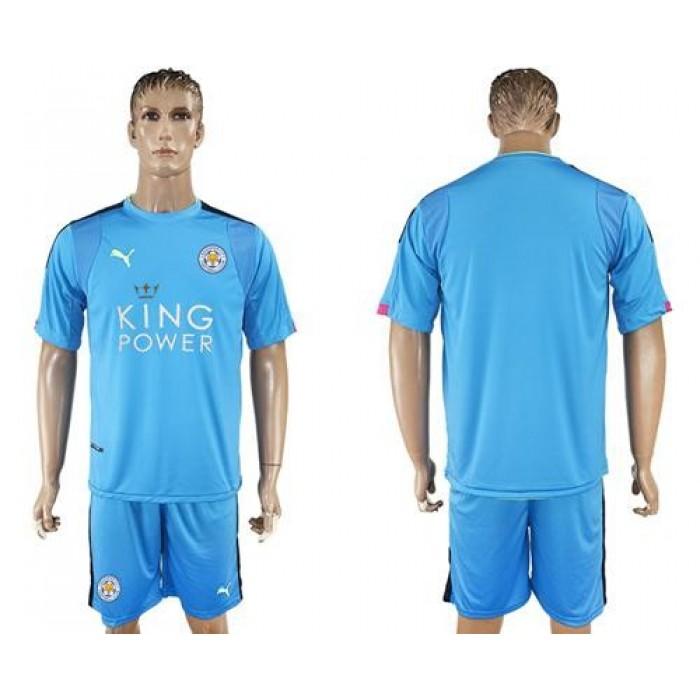 Leicester City Blank Light Blue Goalkeeper Soccer Club Jersey