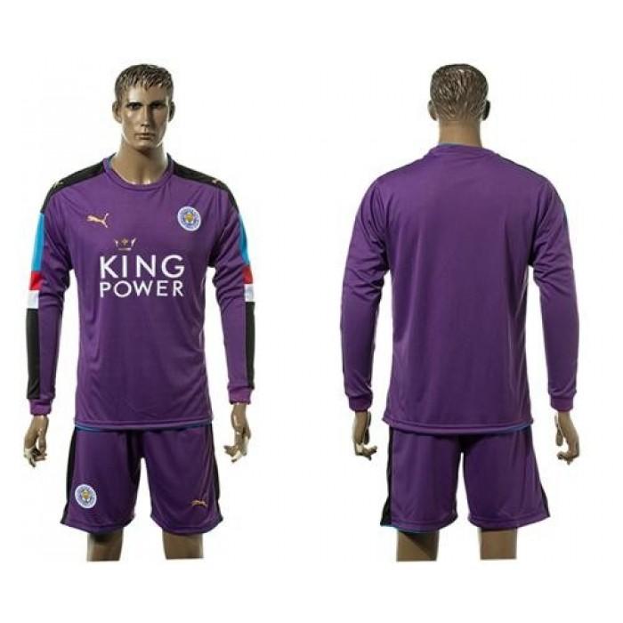 Leicester City Blank Purple Goalkeeper Long Sleeves Soccer Club Jersey