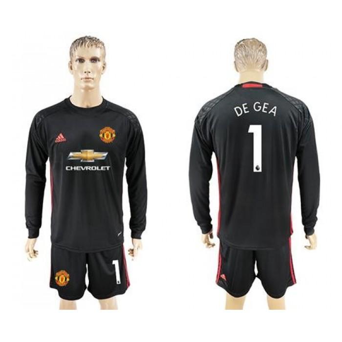 Manchester United #1 De Gea Black Goalkeeper Long Sleeves Soccer Club Jersey