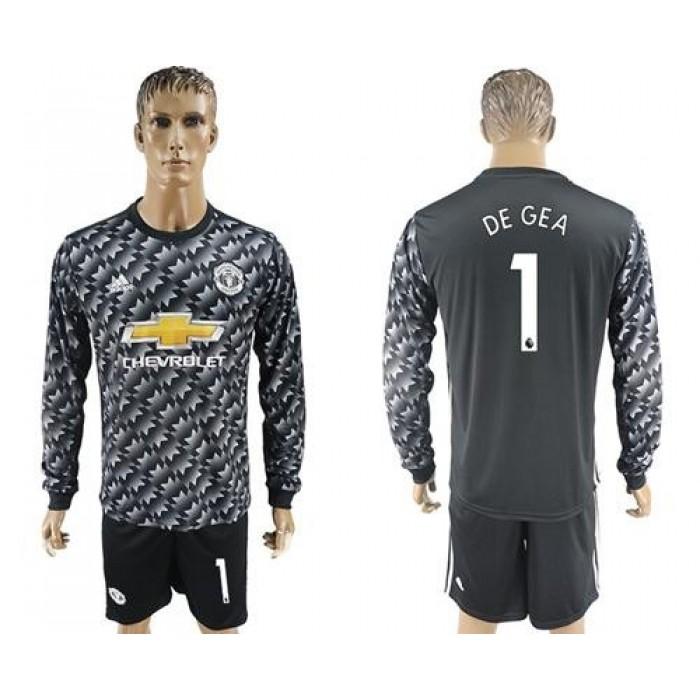 Manchester United #1 De Gea Black Long Sleeves Soccer Club Jersey