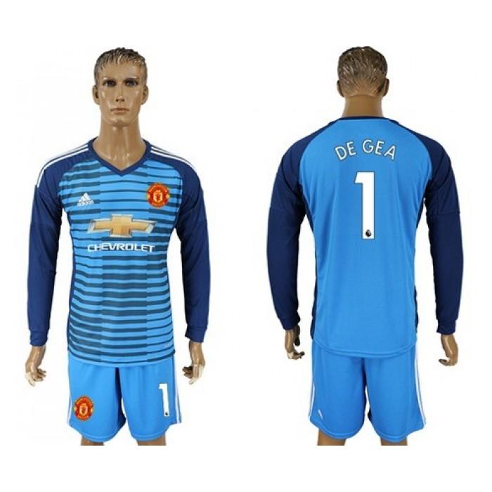 Manchester United #1 De Gea Blue Long Sleeves Soccer Club Jersey