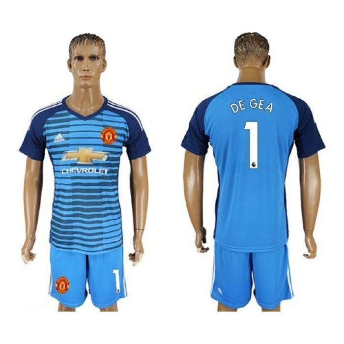 Manchester United #1 De Gea Blue Soccer Club Jersey